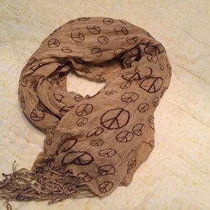 Vintage Retro Scarf--Brown with Peace Signs